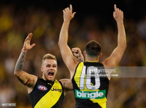 Shane Edwards of the Tigers celebrates a goal with Brandon Ellis of the Tigers during the 2017 AFL Second Preliminary Final match between the...