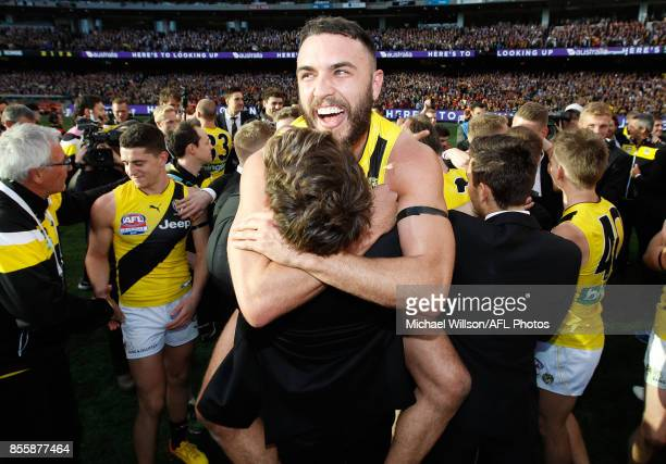 Shane Edwards of the Tigers celebrates during the 2017 Toyota AFL Grand Final match between the Adelaide Crows and the Richmond Tigers at the...