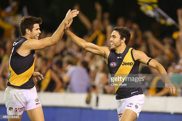 Shane Edwards of the Tigers celebrates with Trent Cochin after kicking a goal during the round five AFL match between the Brisbane Lions and the...
