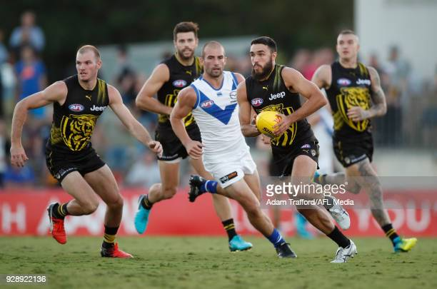 Shane Edwards of the Tigers in action during the AFL 2018 JLT Community Series match between the Richmond Tigers and the North Melbourne Kangaroos at...