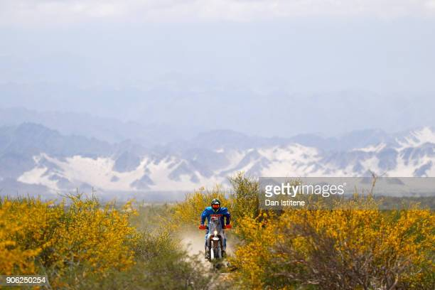 Shane Esposito of the United States and Duust Rally rides a KTM Rally Replica bike in the in the Classe 21 Super Production during stage eleven of...