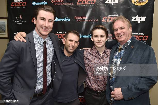 Shane Fennessey Adam Fine Jagger Metz and Don Metz attend the Premiere Of 'Making Coco The Grant Fuhr Story' at Desert Dunes Golf Club on March 9...