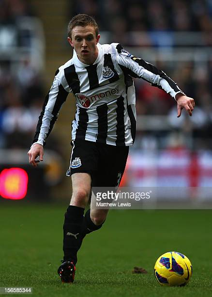 Shane Ferguson of Newcastle in action during the Barclays Premier League match between Newcastle United and Swansea City at St James' Park on...