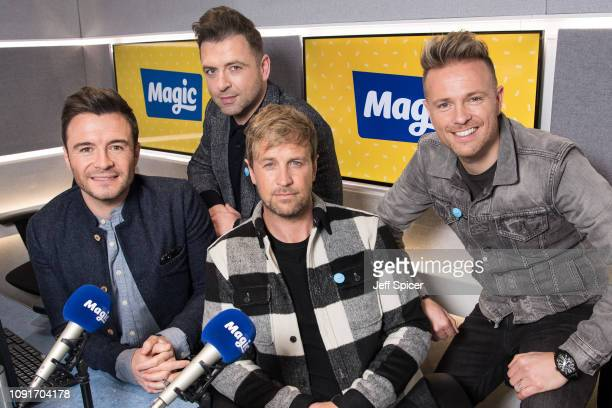 Shane Filan, Mark Feehily, Kian Egan and Nicky Byrne of Westlife visit Magic Radio on January 09, 2019 in London, England.