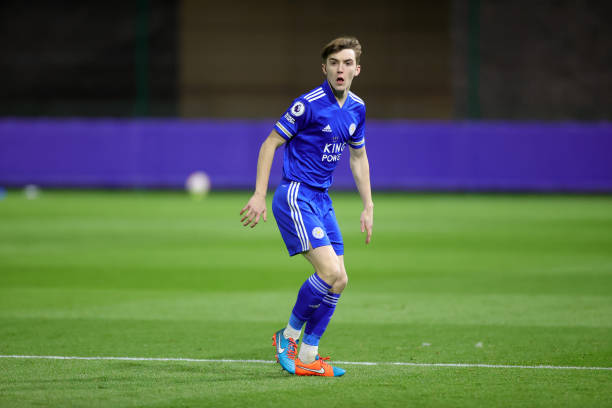 Shane Flynn of Leicester City during the Premier League 2 match between Leicester City and Manchester United at Leicester City Training Ground, on...