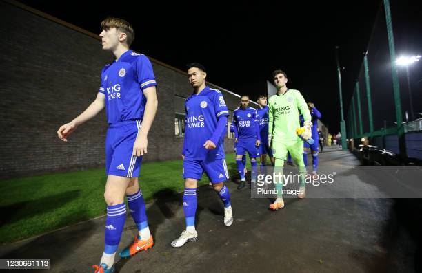 Shane Flynn of Leicester City, Thanawat Suengchitthawon of Leicester City and Jakub Stolarczyk of Leicester City ahead of the Premier League 2 match...