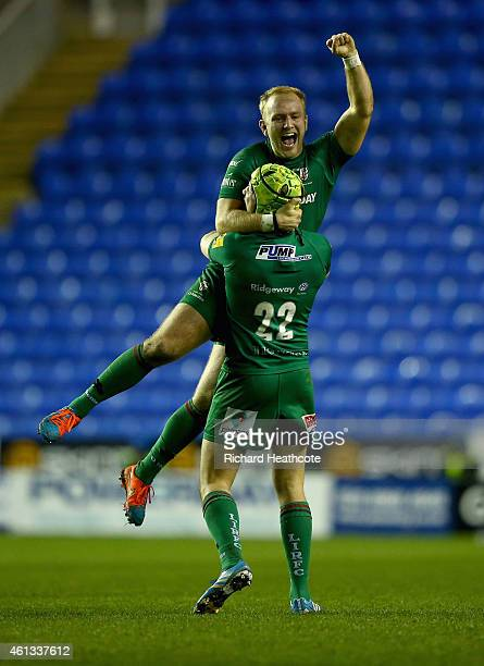 Shane Geraghty of Irish celebrates as he wins the game with a last gasp drop kick during the Aviva Premiership match between London Irish and Exeter...
