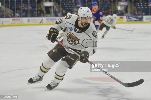 Shane Gersich of the Hershey Bears looks for a pass during a game against the Bridgeport Sound Tigers at Webster Bank Arena on January 21 2019 in...