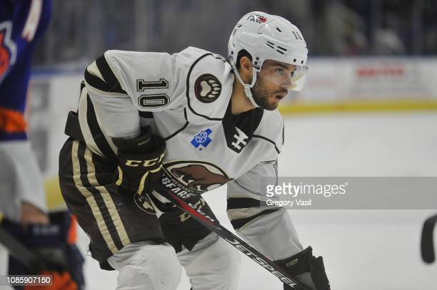 Shane Gersich of the Hershey Bears watches a face off during a game against the Bridgeport Sound Tigers at Webster Bank Arena on January 21 2019 in...