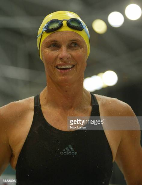 Shane Gould of Australia leaves the pool after the 50m Butterfly heats during day 6 of the Telstra Olympic Team Swimming Trials at the Homebush...