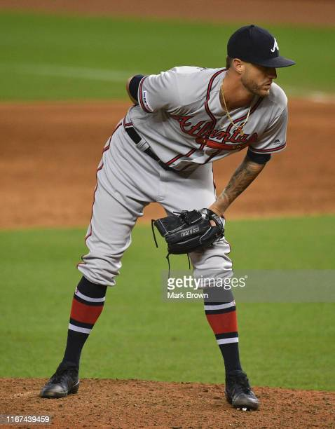 Shane Greene of the Atlanta Braves delivers a pitch against the Miami Marlins at Marlins Park on August 10 2019 in Miami Florida