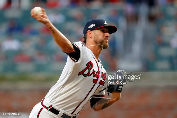 Shane Greene of the Atlanta Braves delivers the pitch during the sixth inning against the St Louis Cardinals in game one of the National League...