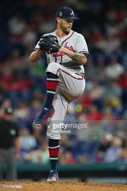 Shane Greene of the Atlanta Braves in action against the Philadelphia Phillies during a game at Citizens Bank Park on September 11 2019 in...