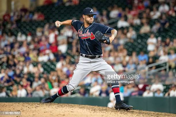 Shane Greene of the Atlanta Braves pitches against the Minnesota Twins on August 6 2019 at the Target Field in Minneapolis Minnesota The Twins...