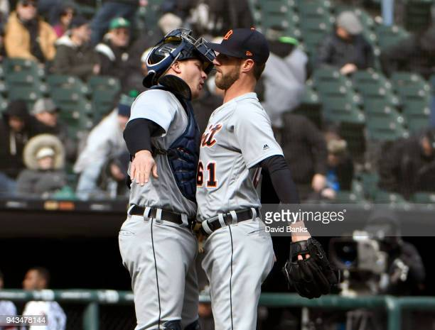 Shane Greene of the Detroit Tigers and John Hicks of the Detroit Tigers celebrate their win against the Chicago White Sox on April 8 2018 at...