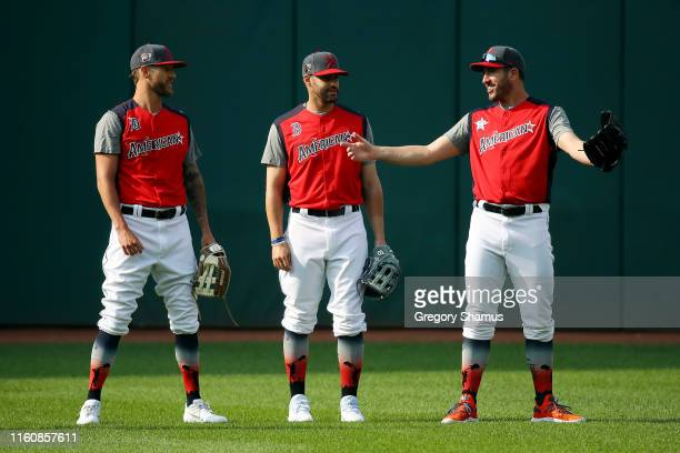 Shane Greene of the Detroit Tigers and the American League JD Martinez of the Boston Red Sox and the American League and Justin Verlander of the...