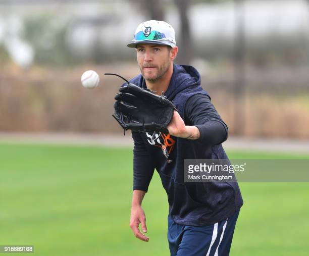 Shane Greene of the Detroit Tigers catches a baseball during Spring Training workouts at the TigerTown Facility on February 13 2018 in Lakeland...