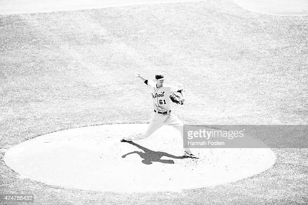 Shane Greene of the Detroit Tigers delivers a pitch against the Minnesota Twins during the game on April 29 2015 at Target Field in Minneapolis...