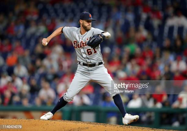 Shane Greene of the Detroit Tigers delivers a pitch in the ninth inning during a game against the Philadelphia Phillies at Citizens Bank Park on...