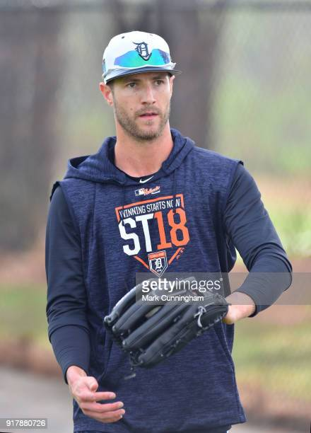 Shane Greene of the Detroit Tigers looks on during Spring Training workouts at the TigerTown Facility on February 13 2018 in Lakeland Florida