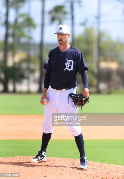 Shane Greene of the Detroit Tigers looks on during Spring Training workouts at the TigerTown Facility on February 20 2018 in Lakeland Florida