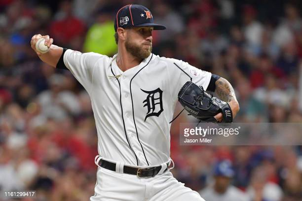 Shane Greene of the Detroit Tigers participates in the 2019 MLB AllStar Game at Progressive Field on July 09 2019 in Cleveland Ohio