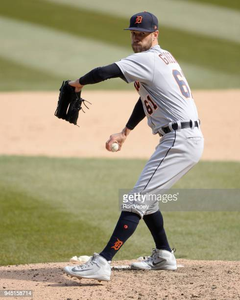Shane Greene of the Detroit Tigers pitches against the Chicago White Sox on April 8 2018 at Guaranteed Rate Field in Chicago Illinois Shane Greene