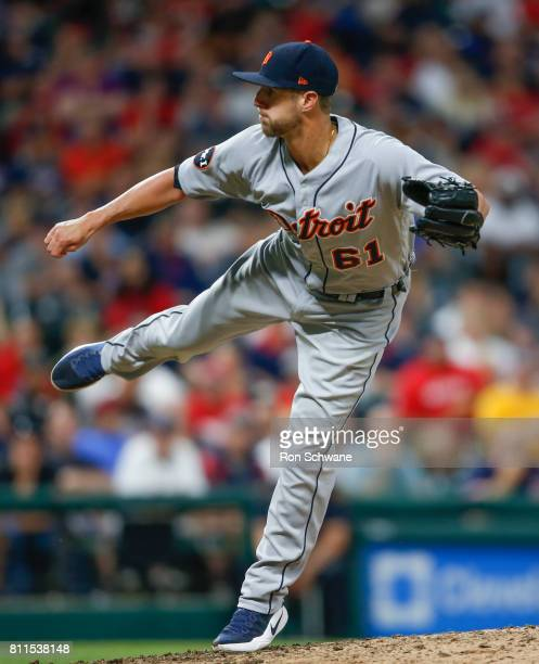 Shane Greene of the Detroit Tigers pitches against the Cleveland Indians during the eighth inning at Progressive Field on July 9 2017 in Cleveland...