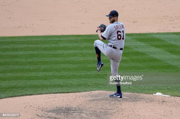 Shane Greene of the Detroit Tigers pitches against the Colorado Rockies in the ninth inning of a game at Coors Field on August 30 2017 in Denver...