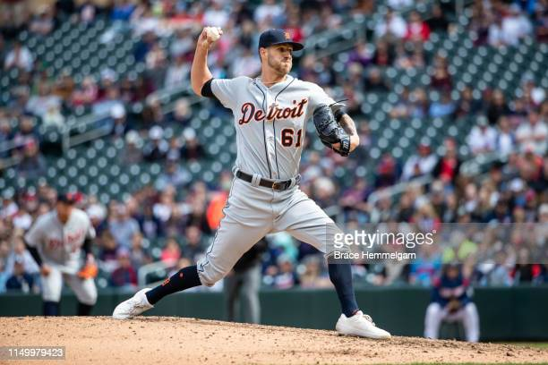Shane Greene of the Detroit Tigers pitches against the Minnesota Twins in game one of a doubleheader on May 11 2019 at the Target Field in...