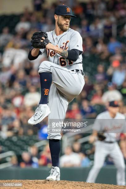 Shane Greene of the Detroit Tigers pitches against the Minnesota Twins on August 18 2018 at Target Field in Minneapolis Minnesota The Tigers defeated...