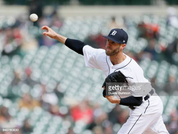Shane Greene of the Detroit Tigers pitches against the Pittsburgh Pirates during the ninth inning of game one of a doubleheader at Comerica Park on...