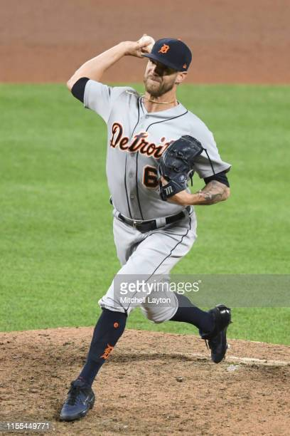 Shane Greene of the Detroit Tigers pitches during a baseball game against the Baltimore Orioles at Oriole Park at Camden Yards on May 29 2019 in...