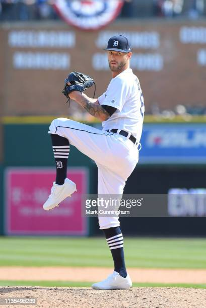 Shane Greene of the Detroit Tigers pitches during the game against the Kansas City Royals at Comerica Park on April 6 2019 in Detroit Michigan The...