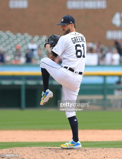 Shane Greene of the Detroit Tigers pitches during the game against the Chicago White Sox at Comerica Park on April 21 2019 in Detroit Michigan The...