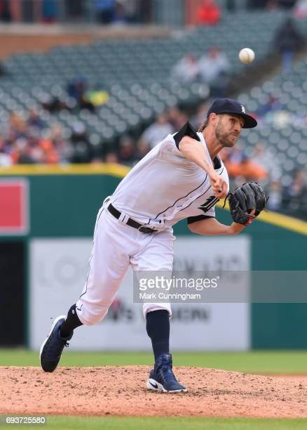 Shane Greene of the Detroit Tigers pitches during the game against the Chicago White Sox at Comerica Park on April 30 2017 in Detroit Michigan The...