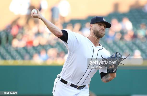 Shane Greene of the Detroit Tigers pitches during the ninth inning of the game against the Washington Nationals at Comerica Park on June 29 2019 in...