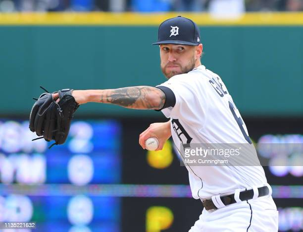 Shane Greene of the Detroit Tigers pitches during the Opening Day game against the Kansas City Royals at Comerica Park on April 4 2019 in Detroit...