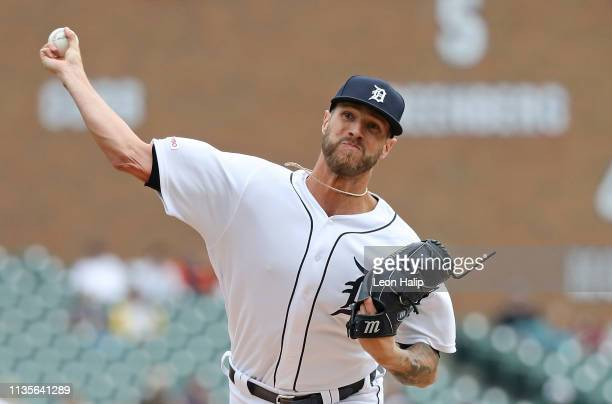 Shane Greene of the Detroit Tigers pitches in the ninth inning of the game against the Kansas City Royals at Comerica Park on April 7 2019 in Detroit...