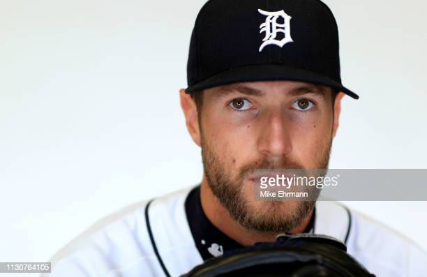Shane Greene of the Detroit Tigers poses for a portrait during photo day at Publix Field at Joker Marchant Stadium on February 19 2019 in Lakeland...