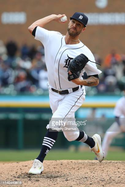 Shane Greene of the Detroit Tigers throws a ninth inning pitch while playing the Kansas City Royals during Opening Day at Comerica Park on April 04...