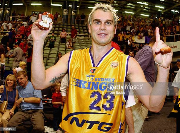Shane Heal of the Kings shows off his championship ring after defeating the Wildcats after game two of the NBL Final series between the Perth...