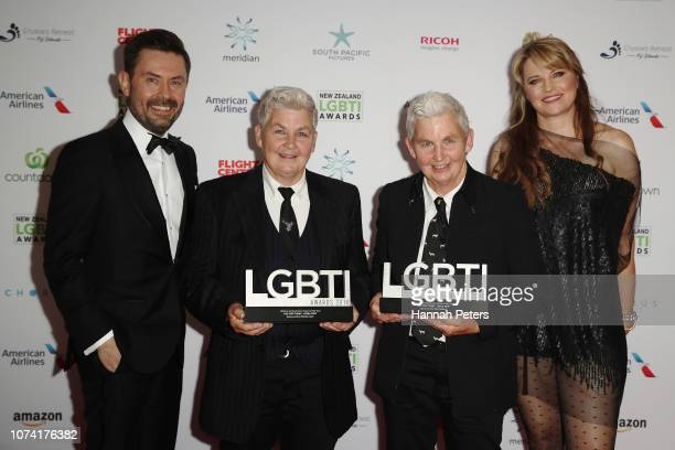 Shane Hodges and Lucy Lawless pose with Jools Topp and Lynda Topp after winning the Lifetime Achievement award at the New Zealand LGBTI Awards 2018...