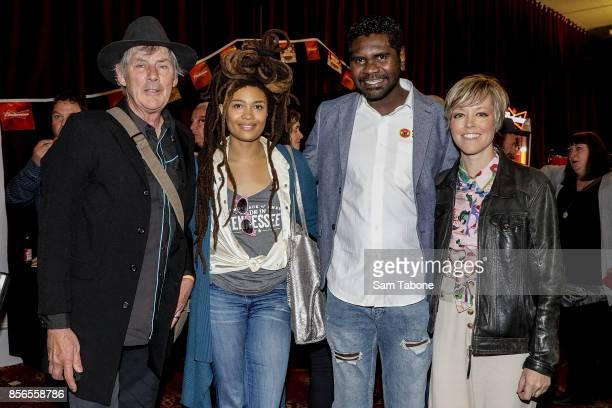 Shane Howard Valerie June Yirrmal Marika and Emiy Baker at the Australian Americana Music Honours Night at The Thornbury Theatre on October 2 2017 in...