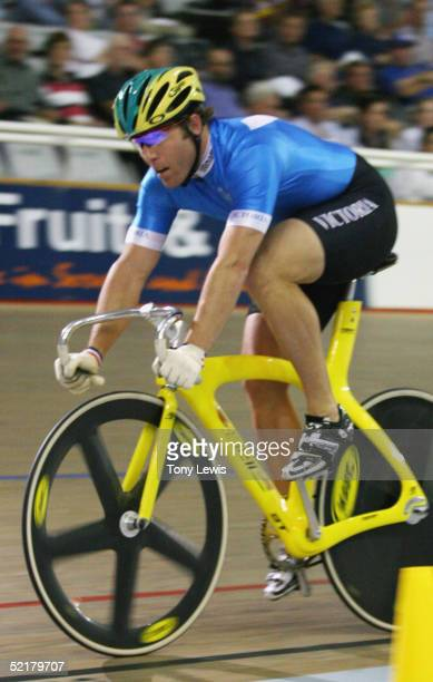 Shane Kelly of Victoria crosses the line to win the men's sprint final on day 5 of the Australian track championships at the Adelaide Super-drome in...