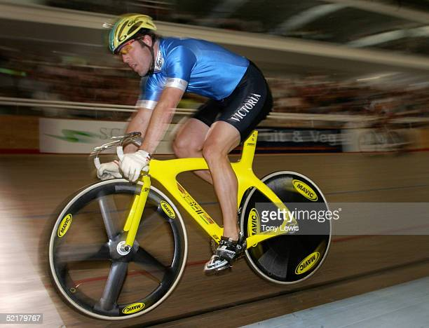 Shane Kelly of Victoria in action in the men's team sprint on day 5 of the Australian track championships at the Adelaide Super-drome on February 11,...