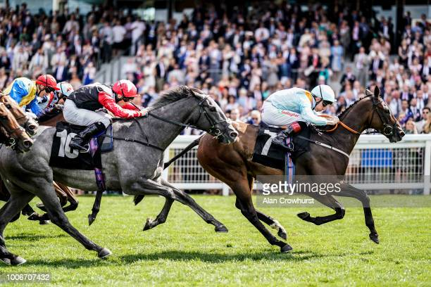 Shane Kelly riding Burnt Sugar win The Gigaset International Stakes at Ascot Racecourse on July 28 2018 in Ascot United Kingdom