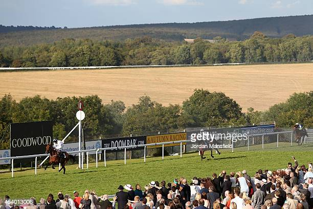 Shane Kelly riding Tall Ship comes in to win the Chichester Observer Stakes in front of Harry Bentley riding Artful Rogue at Goodwood racecourse on...