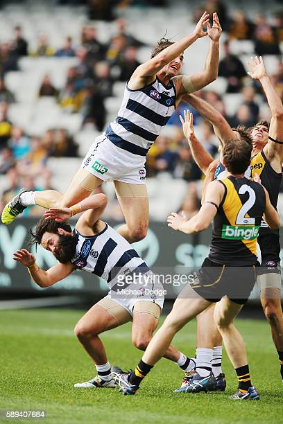 Shane Kersten of the Cats crashes nto teammate Jimmy Bartel during the round 21 AFL match between the Richmond Tigers and the Geelong Cats at...