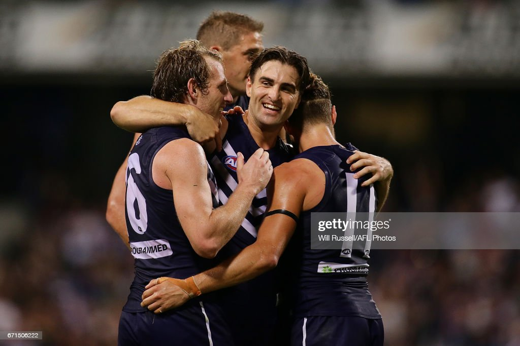 Shane Kersten of the Dockers celebrates after defeating the Kangaroos during the round five AFL match between the Fremantle Dockers and the North Melbourne Kangaroos at Domain Stadium on April 22, 2017 in Perth, Australia.
